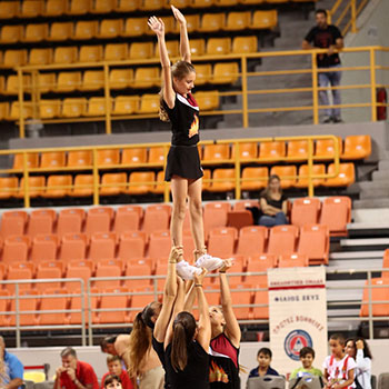 Cheerleaders show during the 2nd Crete International Basketball Tournament