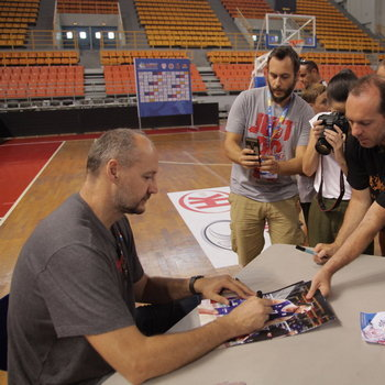 Dino Radja signing autographs for their fans during the 3rd Crete International Basketball Tournament