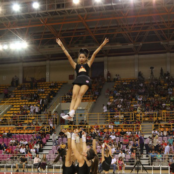 Cheerleaders show during the 1st Crete International Basketball Tournament